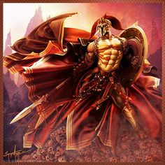 Aries son of Zeus and Hera. He was disliked by both parents. He is the god of war. He is considered murderous and bloodstained but, also a coward. When caught in an act of adultery with Aphrodite her husband Hephaestus is able publically ridicule him. His bird is the vulture. His animal is the dog.
