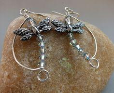 Deagonfly Sterling Silver Dangle Earrings. Dragonflies. Swarovski Crystal Earrings by keywestdesigning on Etsy