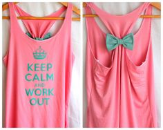 Keep Calm and Work Out Tank with Bow  XLARGE by personTen on Etsy, $35.00