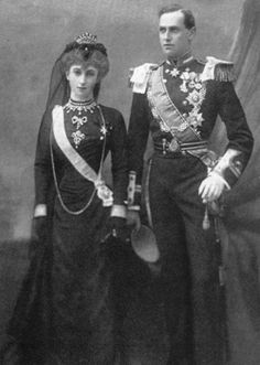 Royal in Mourning spam   Prince Carl of Denmark, later King Haakon VII of Norway and Princess Maud, later Queen Maud, in mourning for Queen Victoria, 1901. Maud was a granddaughter of Queen Victoria.