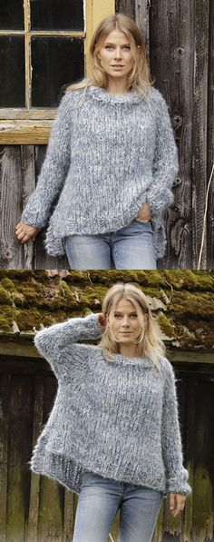 Free Knitting Pattern for a Chunky Knit Sweater. Raglan sweater worked top down with high neck and split in sides. Easy and oversized sweater knitting pattern. #knitting #knittingpatterns #freepattern #freeknittingpattern Free Chunky Knitting Patterns, Jumper Knitting Pattern, Knit Sweater Patterns, Knitting Sweaters, Loom Knitting, Shibori, Chunky Knit Jumper, Chunky Knit Throw, Chunky Knits