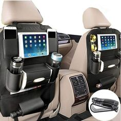 PALMOO Pu Leather Car Seat Back Organizer and iPad mini Holder Universal Use as Car Backseat Organizer for Kids Storage Bottles Tissue Box Toys Pack Black) Price Support Ipad, Cleaning Leather Car Seats, Backseat Car Organizer, Trash Can For Car, Car Storage, Kids Storage, Extra Storage, Car Gadgets, Truck Accessories