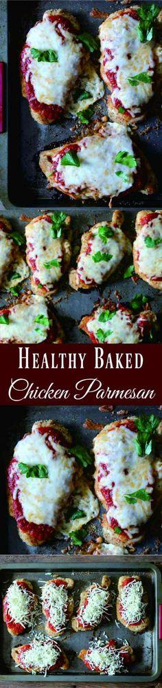 Healthy Baked Chicken Parmesan - cheese, chicken, garlic, healthy, recipes