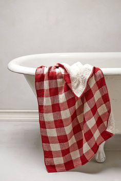 Fluffy gingham towels | Anthro