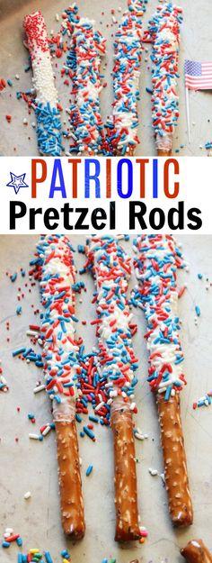 Easy 4h of July Desserts Idea-Patriotic Pretzel Rods Recipe-Easy Fourth of July Desserts  via @mellisaswigart