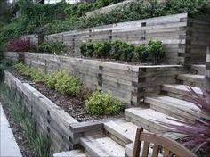 backyard hill landscaping sloped yard raised gardens ~ gardens on a hill sloped yard . Steep Hillside Landscaping, Steep Backyard, Sloped Backyard Landscaping, Terraced Landscaping, Terraced Backyard, Landscaping On A Hill, Sloped Yard, Hillside Garden, Landscaping Ideas