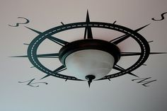Gotta love the title of this post. How to Make the Best of Your Boob Light Fixtures {diy lights} (liking the compass rose! For the laundry room) Nautical Home Decorating, Decorating Ideas, Coastal Decor, Nautical Interior, Coastal Living, Nautical Bedroom Decor, Nautical Nursery, Coastal Homes, Nautical Decor Ideas