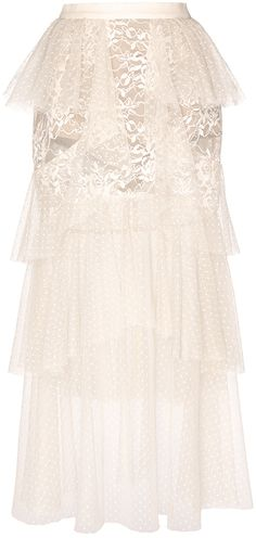 Elie Saab Tiered Tulle and Lace Skirt