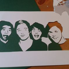 5 Seconds of Summer / 5SOS portrait cut by Mrs Scuffer's Handcut. You can have a bespoke piece made by contacting her via her website, Facebook, Instagram or Etsy