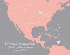 Destination Wedding Map -- Bahamas, Canada, Caribbean, Aruba, Jamaica, Cuba and all locations in North and South America via PaperPlanePrints.etsy.com