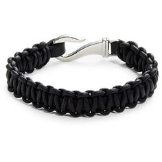 Zack Woven Leather Bracelet ($62) ❤ liked on Polyvore featuring men's fashion, men's jewelry, men's bracelets, jet black, mens leather bracelets and mens leather braided bracelets