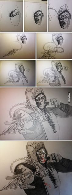 Drawing of Scorpion from Mortal Kombat X