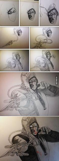 Drawing of Scorpion from Mortal Kombat X
