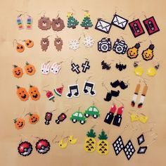 Mini Hama Beads, Diy Perler Beads, Perler Bead Art, Fuse Beads, Easy Perler Bead Patterns, Melty Bead Patterns, Perler Bead Templates, Beading Patterns, Perler Earrings