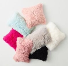 RH TEEN's Mongolian Lamb Pillow Cover & Insert:A luxurious touch with a rock-and-roll edge. Mongolian lambs are renowned for their long, curly, silky-textured wool, used here to create a sumptuously soft and decidedly glamorous pillow.