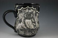 Rebecca A. Grant Ceramics: Sgraffito Owl Mug