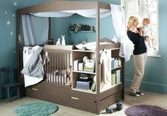 Endearing Design Modern Nursery Furniture features Grey Color Wooden Baby Crib With Canopy and Mounted Wooden Changing Table With Shelves
