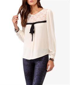 The sweet lace streamers long-sleeved chiffon shirt- Jumpo London