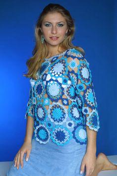 Rosângela Maais - Blog Rosângelaarteselinhas: Sugestão de blusa em crochê... Bem fácil de fazer, e é linda!!! Feita em motivos de crochê.