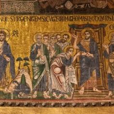 Appearances after the Resurrection as depicted in the Basilica di San Marco in Venice Mary Magdalene, Holy Cross, Catholic Art, Mythology, Worship, Vintage World Maps, History, Fall, Painting
