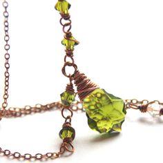 Olivine Crystal Swarovski Necklace Antique Copper Jewelry April Birth... JewelryByMagda $29