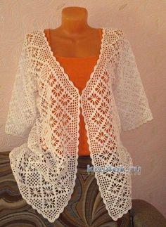 Débardeurs Au Crochet, Crochet Bolero Pattern, Gilet Crochet, Crochet Shirt, Crochet Mittens, Crochet Books, Crochet Cardigan, Lace Bolero, Jacket Pattern