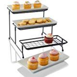 Unique 3 Tier Mesh Serving Stand with Server Platters - Three White Porcelain Food Dessert Display Tray Fruit Presentation, Plate Racks, Cake Servings, Dessert Recipes, Desserts, Kitchen Cart, Serving Platters, White Porcelain, Tray