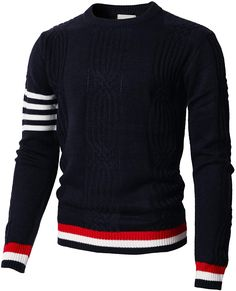 d168790878 H2H Men Color Block Long Sleeves Knitted Pullover Of Various Colors Navy US  M Asia