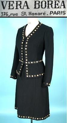 1970's VERA BOREA (Countess di Regoli), 376 Rue St. Honore, Paris Black Fine Wool Blend Gold Studded Suit!