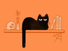 Spooky Snooze by Cat Chmaj Black Cat Illustration, Cat Illustrations, Cats And Kittens, Ragdoll Kittens, Tabby Cats, Funny Kittens, Bengal Cats, White Kittens, Adorable Kittens