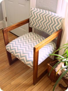 I'd like to recover the guest chairs in my office, and I love this chevron fabric!