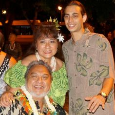 Roland Cazimero with his wife, Lauwa'e, and his son, Jonah Rodriguez! After the Brothers Cazimero concert at the Hawaii Theatre, September 6th, 2013!