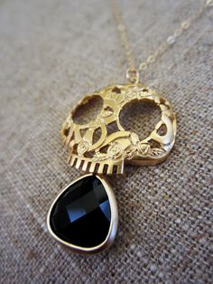 I have a thing for pretty skulls - Skull Necklace, Long Gold necklace, onyx Drop necklace, Sugar skull necklace, Jewelry, Long pendant necklace on Etsy, £25.02