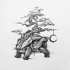 Old turtle #tattoo #tattoo #sketchtattoo #sketch #blackwork #turtle #tortoise #bonsai #bonsaitree #old