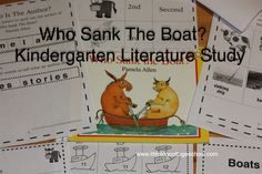 Our first Who Sank The Boat?-Kindergarten is ready for the June session! I have had so much fun creating these printables to line up with our State Kindergarten Curriculum and with our book… Comprehension Activities, Teaching Activities, Author Studies, Unit Studies, Sink Or Float, Kindergarten Reading, Kindergarten Curriculum, Book Themes, Literacy
