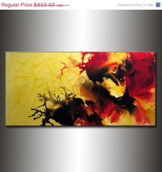 Abstract Painting Original Abstract painting by newwaveartgallery, $455.00