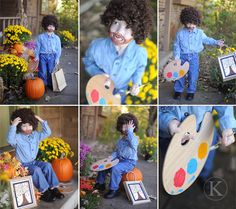 """Bob Ross Costume ~ """"There are no such things as accidents...only happy little mistakes!"""" Bob Ross  Very Creative costume!!"""