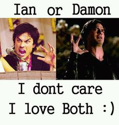 Ian Somerhalder vs Damon Salvatore, I have to completely agree with this picture. Both are.... can't even put words to describe them!