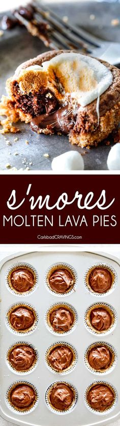 EASY - 30 Minute - S'mores Molten Lava Pies are decadently rich,with an oozing chocolate center, topped with melty toasted marshmallows all nestled in a buttery graham cracker crust - BUT - they are super easy to make and baked ina muffin tin so no special equipment is required! via @carlsbadcraving