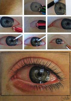 drawing an eye realistically with colored pencils   This one kind of looks like they have Pink Eye though. :-/