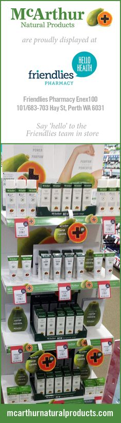 Look for McArthur Natural Products in-store at all good pharmacies. Have you seen our Product Display at Friendlies Pharmacy in Enex100, 101/683-703 Hay St. Perth WA 6031? Find a store near you: http://mcarthurnaturalproducts.com/stockists/ #mnp #mcarthurnaturalproducts #chemist #pharmacy #friendlieschemist