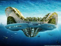 """Abris marins futuristes pour les réfugiés climatiques. Lilypad, une """"éco-cité"""" marine futuriste © Vincent Callebaut Architectures"""