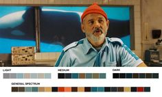 Colour palettes of Wes Anderson's imagination-AnOther mag.  The+Life+Aquatic,+2004