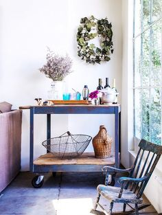 To make your cart feel warm, small touches like fresh flowers make a big impact. | 19 Ways An Industrial Bar Cart Can Improve Your Life