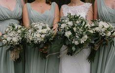 Bouquet Bride Bridal Bridesmaids Greenery Foliage Rose Gypsophila Natural Sage Green Farm Wedding https://www.loveluella.co.uk/