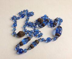 Vintage 1920s Gatsby Necklace #vintage #necklace #1920s #gatsby #blue