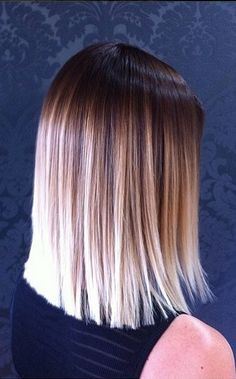 this cut and this color - ombre with shoulder length blunt cut - YES