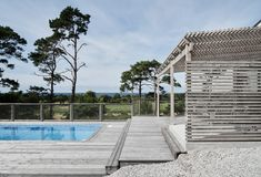 Villa Swimming Pool in Gotland, Sweden by M. Pergola Ideas For Patio, Pergola Garden, Metal Pergola, Garden Pool, Diy Pergola, Pergola Kits, English House, Spanish House, Timber Roof