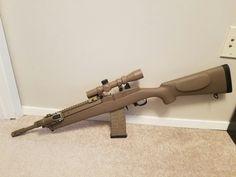 Mini 14 FDE Cerakote Mini 14, Battle Rifle, Military Guns, Pew Pew, Guns And Ammo, Rifles, Tactical Gear, Bushcraft, Firearms