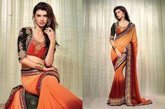 Majesty orange color party wear saree with designer blouse. #addsharesale, #wholesale, #desingnersaree, #saree, #sarees, #wholesalesarees, #partywearsaree, #bollywoodsaree, #embroiderysaree, #indiansaree www.addsharesale.com